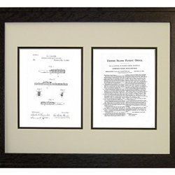 "Combined Pocket Knife And Rule Patent Art White Matte Print In A Rustic Oak Wood Frame (16"" X 20"")"