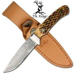 "Er-262Db 7.5"" Elk Lsys8D Ridge Damascus Blade F8Ob7Dhw9 Hunting Knife W/ Bone Handle Ayeuiu56 Hlbv23Rt Bone Handle Elk Ridge Knife Features:7.5"" Length.Fixed Damascus Blade.Real Bone Handle With Masonic Pins.Heavy Duty Blade.1St Om9Cwuc Grade Leather Case"