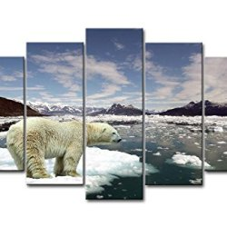 5 Piece Wall Art Painting Polar Bear In A Small Ice Pictures Prints On Canvas Animal The Picture Decor Oil For Home Modern Decoration Print For Items
