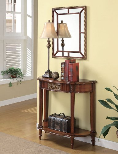 Image of Brown Traditional Console Table & Mirror & Lamp (B003XR7YUQ)