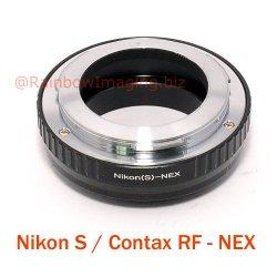 Fotasy Nikon S / Contax Rf Rangerfinder Outer Bayonet Lens To Sony Nex E-Mount Camera Adapter