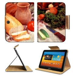 Cucumber Bread Tomato Baked Goods Herbs Knife Samsung Galaxy Tab 3 10.1 Flip Case Stand Magnetic Cover Open Ports Customized Made To Order Support Ready Premium Deluxe Pu Leather 9 7/8 Inch (250Mm) X 7 1/4 Inch (183Mm) X 11/16 Inch (17Mm) Liil Galaxy Tab3