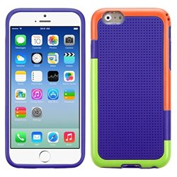 Mybat Gummy Cover For Iphone 6 - Retail Packaging - Orange/Green/Purple