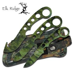 New 3 Pc Elk Ridge Camo Hunting Knife Set Er521C