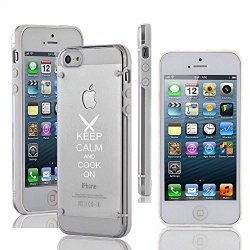 Apple Iphone 5 5S Ultra Thin Transparent Clear Hard Tpu Case Cover Keep Calm And Cook On Chef Knives (White)