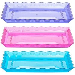 "Set Of 3 - 9"" X 13"" Rectangular Plastic Trays, Fast Food Tray, Lunch Tray, Dinner Tray, Appetizer Platter, Assorted Colors"