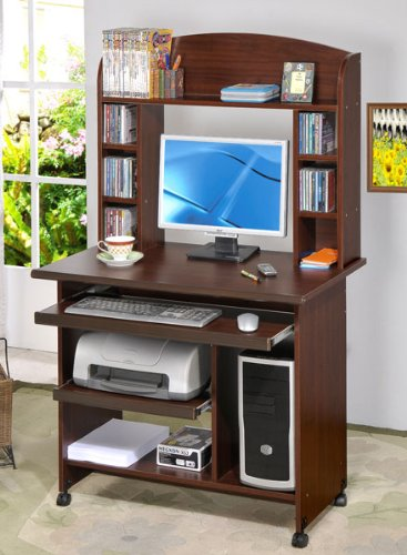 Picture of Comfortable Beautiful Computer Desk in Walnut Finish #PD F41248 (B004HGWVSC) (Computer Desks)
