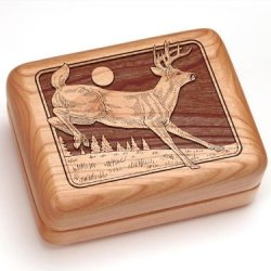 "3X4"" Box With Money Clip/Pocket Knife - Deer"