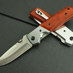 Brown Wood Brass Rivet Survival Camping Strap Holder Knife Blnda50-8.85''