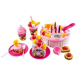 Cellrizon Funny Birthday Party Play Food Set For Kids With Cupcake, Cakes, Cutting Knife,Ice Cream & Sundae