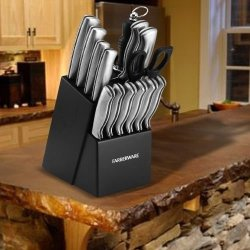New Farberware Stamped 15 Piece Cutlery Set & Kitchen Knife Block -Black