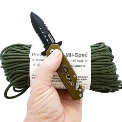 Milspec Paracord 550 & Tac-Force Survival Knife. 110 Foot Hank Of 8-Strand, Type Iii, Military Survival 550 Parachute Cord, Olive Drab Green 107. Guaranteed Mil-C-5040H Compliant. And A Tac-Force Speedster Military Style Folding Survival Knife With Spring