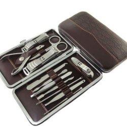Stone Pattern Case+12Pcs Nail Clipper Kit Nail Care Set Pedicure Scissor Tweezer Knife Ear Pick Utility Manicure Set Tools