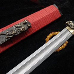 Ancient Chinese Sword Damascus Steel Groove Blade Ebony Scabbard Brass Fittings