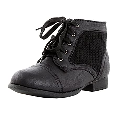 Lace Up Combat Work Military Knit Women Low Heel Ankle Booties Boots