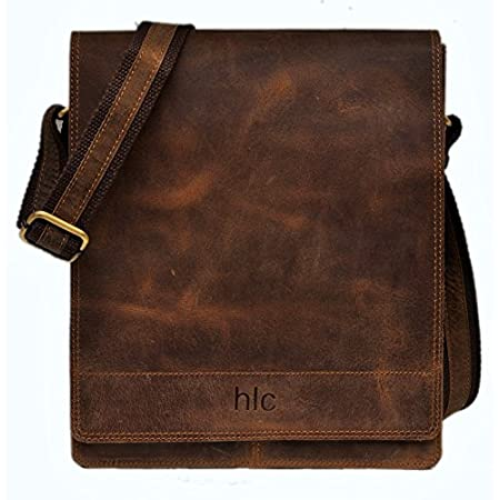 size 12 inch by 10 inch leather calf inside 1 huge compartment as well as zipper pocket a well as document pockets outside huge pocket as well as zipper pocket looks vintage its handolederco product best for collage school and parties very cool and s...