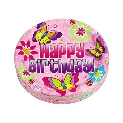 7 Inch Pink Happy Birthday Dessert Plates, Butterfly Birthday Paper Plate (36 Count)