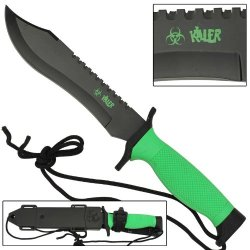 Wicked!! Zombie Killer Mean Green Survival Bowie Fixed Blade Knife