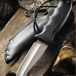 """Cutco Model 5717 Straight Edge Gut Hook Hunting Knife.......High Carbon, Stainless 4 3/8"""" Se Blade............5 7/8"""" Durable Black Kraton® Handle.........Leather Sheath And Lanyard Included."""