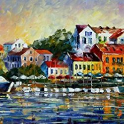 Palette Knife Canvas For Home Decoration,Mediterranean Noon Wall Art 36 X 20 In Unframed