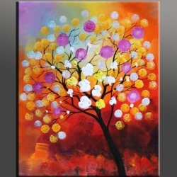100% Hand Painted Canvas Art Warm Day Yellow Flowers Bloom Abstract Floral Oil Painting Modern Art On Canvas Wall Art Deco Home Decoration By Cherry Signed 20X24 Vivid Color