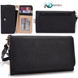 Doogee Dagger Dg550 Wallet & Wristlet Case || Black With Credit Card Holder