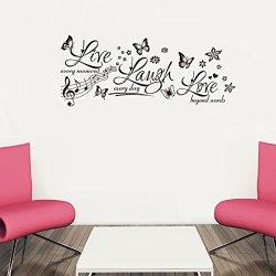 Top-Me Live Laugh Love Butterflies Family Vinyl Wall Art Lettering Sticker Decals Tm8285