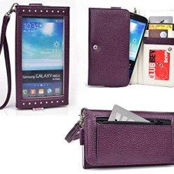 Smartphone Wallet Fits Doogee Dagger Dg550 | Slate Plum Purple & Pale Gray