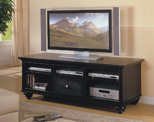 Image of Black LCD / Plasma Flat Panel TV Stand Console Table (VF_700607)