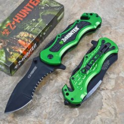 Zombie Hunter Assisted Opening Rescue Tactical Pocket Folding Collection Knife Tactical Outdoor Survival Camping Hunting - Green
