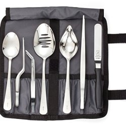 Mercer Culinary M35149 Professional Chef Plating Kit, 8 Piece, Stainless Steel, Black