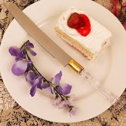 Plus De Gateau Crystal-Like Acrylic Handled Cake Knife With Gold Band - 6 Pc
