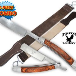 Stock P-20701-Ls6. Pride Cutlery Straight Razor & Leather Strop (2-Piece Set) This Is The Perfect Combination: A 9 Inch Pride Cutlery Straight Razor With A Genuine Leather Strop Folding Knife Blade Dagger Weapon Sharp Edge Camping Hunting Koshka