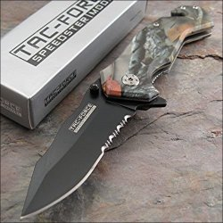 Tac-Force Rescue Forest Camo Assisted Opening Speedster Glass Breaker Knife New!