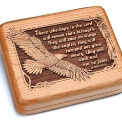 "5X6"" Box With Black And Burlwood Knife - Isaiah 40:31"