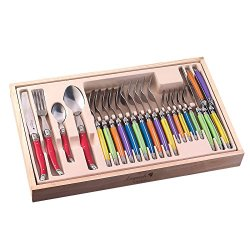 Flyingcolors Laguiole Style 24-Piece Stainless Steel Flatware Set, Multicolor Abs Plastic Handles, With Wooden Gift Box
