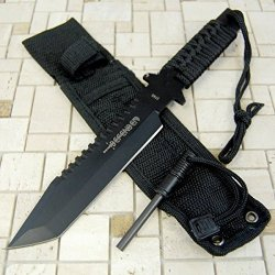 "11"" Hunting Tactical Combat Camping Survival Knife W/ Firestarter Bowie 1740-"