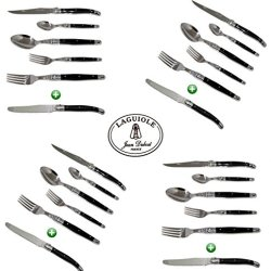 Laguiole Dubost - Complete 24 Pieces Flatware Set For 4 People - Black Color (New 6-Pcs Per Person Place Setting : Includes Exclusive Round Tip Table/Butter Knife) - In Heavier 25/10 Stainless Steel (Original French Dark Color Full Family Quality Cutlery