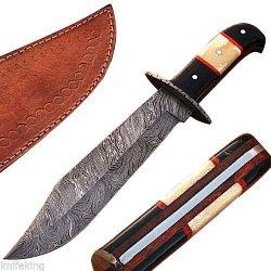 Damascus Steel Bowie Knife Custom Made W/ Camel Bone Handle & Leather Sheath