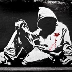 Banksy Hoodie With Knife Graffiti Wall Decal - 36 Inches W X 23 Inches H - Peel And Stick Removable Graphic