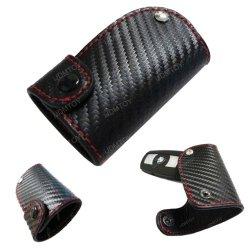 "Ijdmtoy 3D Carbon Fiber Pattern Genuine Premium Leather Remote Smart Key Holder Fob (2.8"" X 1.9"")"