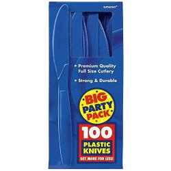 Amscan Bright Royal Blue Big Party Pack - Knives (100)
