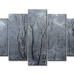 Black & White 5 Piece Wall Art Painting Frosty Woods Snow Forest Pictures Prints On Canvas Landscape The Picture Decor Oil For Home Modern Decoration Print For Bedroom