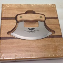 Alaska Gourmet Cutlery Ulu Knife Chopping Bowl Combo Cannery Cutlery