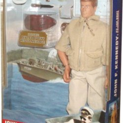 Hasbro Year 2000 G.I. Joe 12 Inch Tall Action Figure - John F. Kennedy As Pt 109 Boat Commander With Tropical Issue Khaki Trousers, Jacket, Sunglasses, Utility Cap, K-Bar Knife And Sheath, .38 Cal. Pistol And Holster, Web Belt, Operations Map, Miniature R