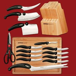 17-Piece Knife Set W/ Cutting Board And Knife Block. Comfortable Handles
