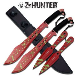 """Zb-049Rd 4Pc Z-Hunter Bhuzlrl5Cf 24"""" X5Cqv3Rxv5 Overall Machete 2 Throwing Knife Set Ayeuiu56 Hlbv23Rt Fixed Blade Machete24"""" Pokdh Overall Lengthstainless Steel 3.5Mm Thickness Bladered Splash Awgbf Color Bladestainless Steel Black Nylon Cord Wrapped Han"""