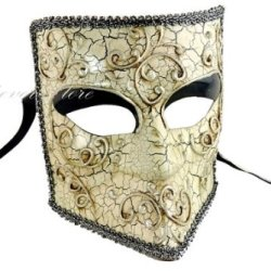 New Bauta Mask - Men'S Full Face Venetian Masquerade Mask - Halloween Mask, Masquerade Party, Costume By 4Everstore (Black Lining)