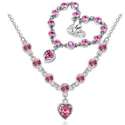 Chariot Trading - Cs184 Fashion 2014 New Heart Rhinestone Austrian Crystal Necklace Bracelets Set ( Color : Silver Rose Red )