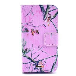 Bayke Brand / Lg Optimus G2 Smartphone Fashion Pu Leather Wallet Flip Protective Skin Case With Stand With Credit Card Slots & Holder Lg G2 At&T, Sprint, T-Mobile, International Only (Hunting Camo Fabric Camouflage Pink Tree Print)